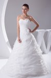 Glamorous Church Sweetheart Sleeveless Organza Court Train Ruching Bridal Gowns