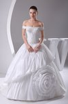 Gorgeous Garden Princess Off-the-Shoulder Taffeta Court Train Bridal Gowns