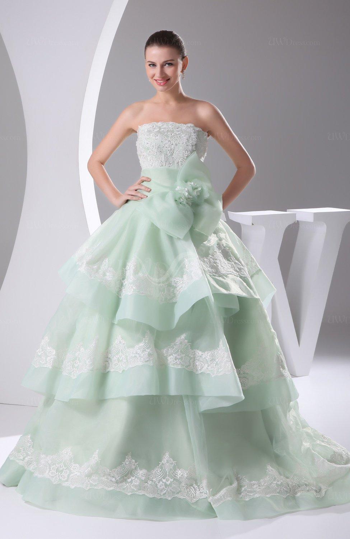 light green cinderella church princess sleeveless lace up