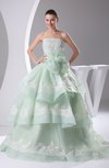 Cinderella Church Princess Sleeveless Lace up Court Train Sequin Bridal Gowns