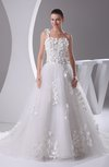 Modest Church Asymmetric Neckline Sleeveless Lace up Chapel Train Flower Bridal Gowns