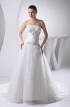 Cinderella Outdoor A-line Lace up Chapel Train Bridal Gowns