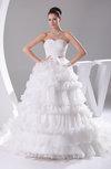 Cinderella Church Princess Organza Chapel Train Pleated Bridal Gowns
