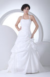 Simple Hall Halter Lace up Taffeta Court Train Ruching Bridal Gowns