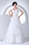 Elegant Garden Queen Anne Short Sleeve Lace up Brush Train Bridal Gowns