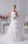 Modern Outdoor Trumpet Strapless Organza Ribbon Bridal Gowns