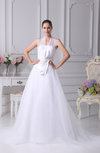 Plain Outdoor Illusion Sleeveless Zipper Ribbon Bridal Gowns