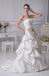 Elegant Hall Scalloped Edge Sleeveless Satin Court Train Pick up Bridal Gowns