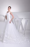 Glamorous Church A-line Sleeveless Lace up Organza Court Train Bridal Gowns
