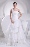 Romantic Outdoor One Shoulder Sleeveless Organza Court Train Tiered Bridal Gowns