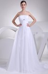 Romantic Hall A-line Zipper Organza Pleated Bridal Gowns