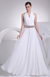 Mature Garden A-line Zip up Floor Length Ribbon Bridal Gowns
