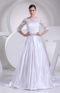 74a3ea0918a White Modern Church A-line Elastic Woven Satin Court Train Pleated Bridal  Gowns