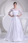 Modern Church A-line Elastic Woven Satin Court Train Pleated Bridal Gowns