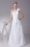 Modest Beach A-line Asymmetric Neckline Zip up Taffeta Bridal Gowns