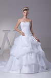 Fairytale Church Princess Backless Organza Sequin Bridal Gowns