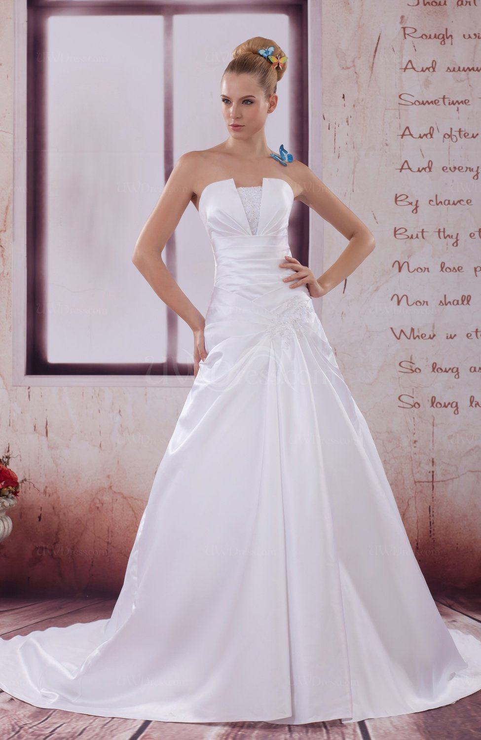 White Traditional Hall A Line Strapless Sleeveless Satin