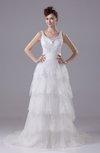 Antique Church Sleeveless Zipper Court Train Rhinestone Bridal Gowns