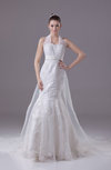 Modest Church Mermaid Halter Sleeveless Organza Appliques Bridal Gowns