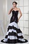 Luxury Trumpet Sweetheart Sleeveless Taffeta Tiered Evening Dresses