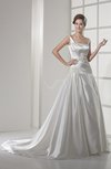 Vintage Hall A-line Wide Square Sleeveless Silk Like Satin Appliques Bridal Gowns