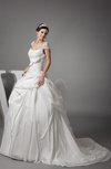Luxury Church Princess Scoop Zipper Taffeta Pick up Bridal Gowns
