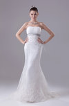 Gorgeous Church Strapless Zip up Organza Court Train Bridal Gowns