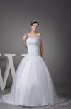 Gorgeous Church Princess Off-the-Shoulder Short Sleeve Zipper Court Train Bridal Gowns