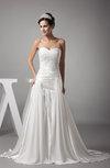 Gorgeous Garden A-line Sleeveless Backless Silk Like Satin Pleated Bridal Gowns