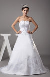 Classic Hall Scalloped Edge Sleeveless Lace up Organza Court Train Bridal Gowns