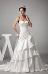 Elegant Hall Sweetheart Sleeveless Satin Court Train Tiered Bridal Gowns