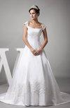 Vintage Outdoor A-line Zipper Satin Court Train Bridal Gowns