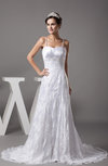 Traditional Outdoor Spaghetti Sleeveless Zip up Court Train Pleated Bridal Gowns
