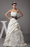 Gorgeous Garden A-line Strapless Sleeveless Satin Ruching Bridal Gowns
