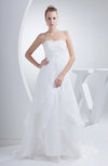 Romantic Church Sweetheart Sleeveless Zip up Organza Court Train Bridal Gowns