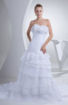 Gorgeous Outdoor A-line Strapless Zipper Tiered Bridal Gowns