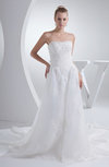 Fairytale Hall Scalloped Edge Sleeveless Organza Chapel Train Paillette Bridal Gowns