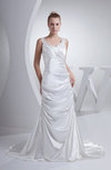 Traditional Outdoor A-line Halter Backless Court Train Ruching Bridal Gowns