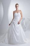 Modest Hall A-line Sweetheart Sleeveless Taffeta Bridal Gowns