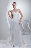 Simple Hall Sheer Sleeveless Silk Like Satin Rhinestone Bridal Gowns