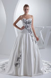 Gorgeous Outdoor Princess Strapless Satin Chapel Train Pleated Bridal Gowns