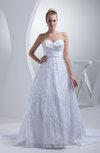 Elegant Church Sweetheart Zipper Satin Chapel Train Bridal Gowns