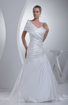 Plain Outdoor Portrait Short Sleeve Zip up Satin Ruching Bridal Gowns