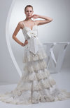 Luxury Outdoor A-line Spaghetti Zip up Court Train Ribbon Bridal Gowns