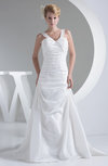 Modest Hall Thick Straps Sleeveless Taffeta Sweep Train Ruching Bridal Gowns