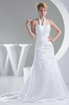 Elegant Garden A-line Halter Sleeveless Backless Ruching Bridal Gowns
