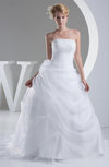 Glamorous Church Princess Zip up Organza Chapel Train Bridal Gowns
