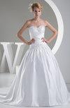 Fairytale Church Sleeveless Zipper Satin Chapel Train Sequin Bridal Gowns