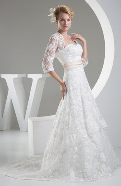 e43ab55633152 Elegant Hall A-line 3/4 Length Sleeve Chapel Train Lace Bridal Gowns