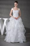 Antique Hall Princess Portrait Sleeveless Organza Floor Length Bridal Gowns